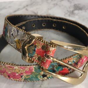 Vintage  80's Elite Floral Glitter Belt